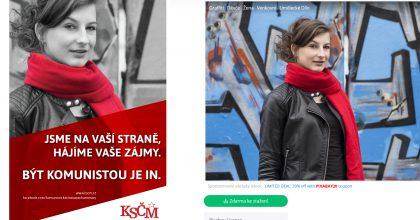 Žena zkampaně KSČM není komunistkou. Strana obrázek stáhla zfotobanky